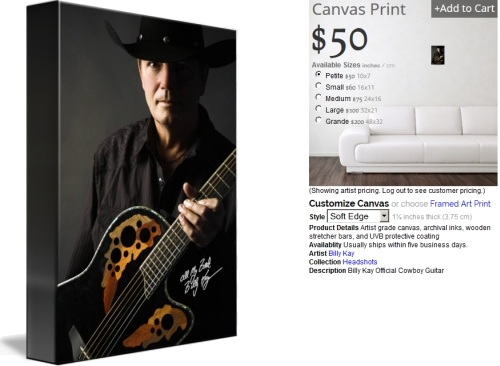 Billy Kay Cowboy Guitar Canvas Prints