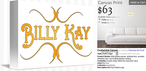 Billy Kay Official Yellow Logo Canvas Prints